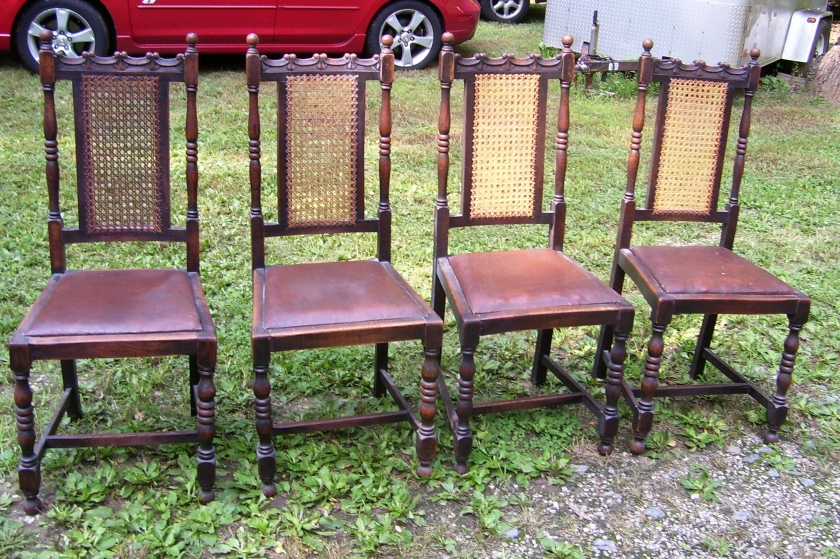 Carved cane-back antique chairs - set of four