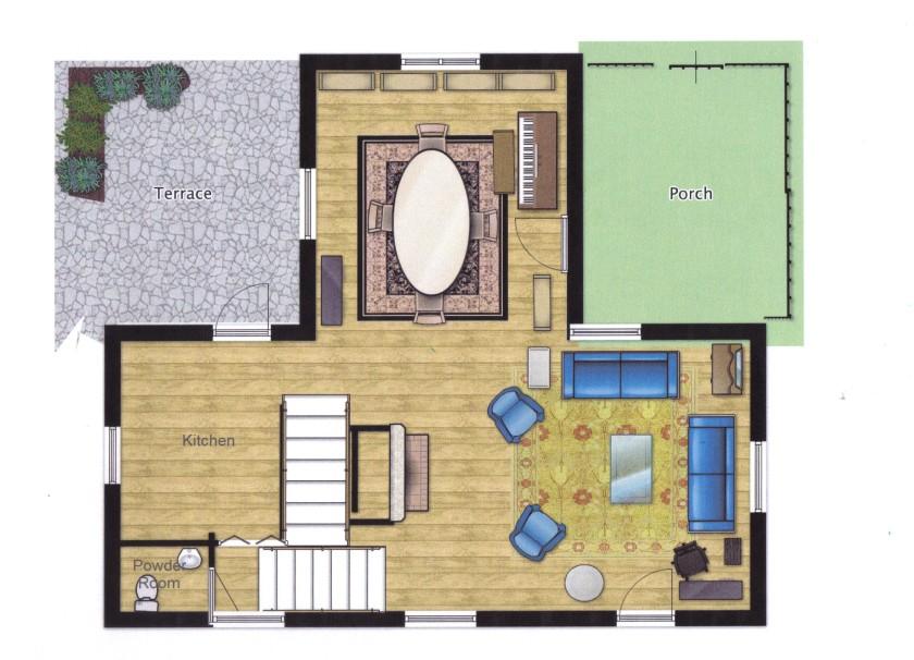 The original downstairs floor plan.