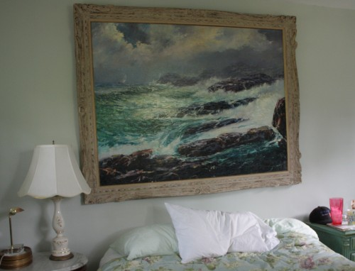 This large painting has been moved to the living room.