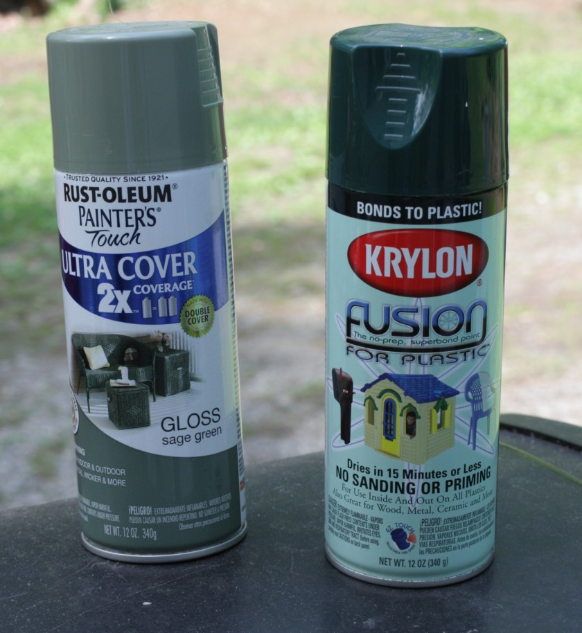 Light and Dark Green Spray Paint -- Krylon Fusion is made expressly for plastic.