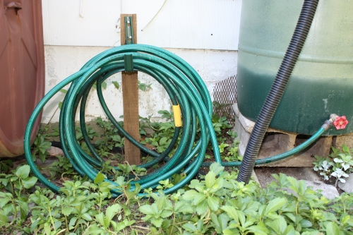 In 2011 I used what we had on hand to construct a basic hose holder.