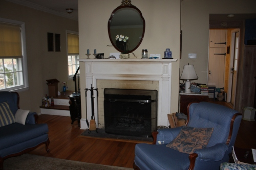 The fireplace wall before the renovation.