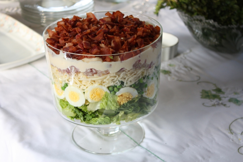 Seven layer salad ready for the buffet.
