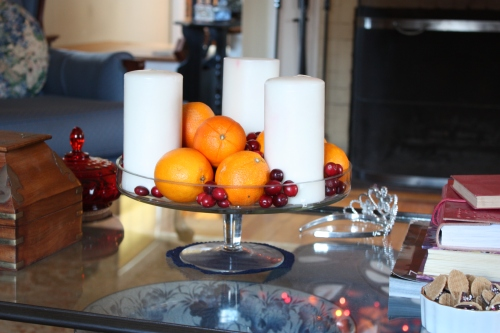 Oranges, cranberries and candles in the lving room in 2011 -- in 2014 they'll be replaced by limes and something blue.