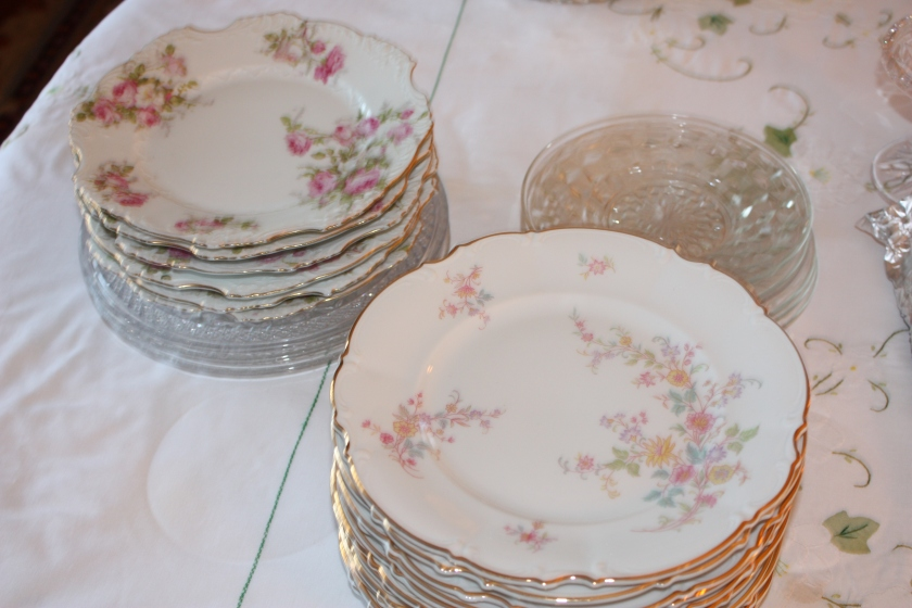 We'll certainly use my pink flowered tea plates.