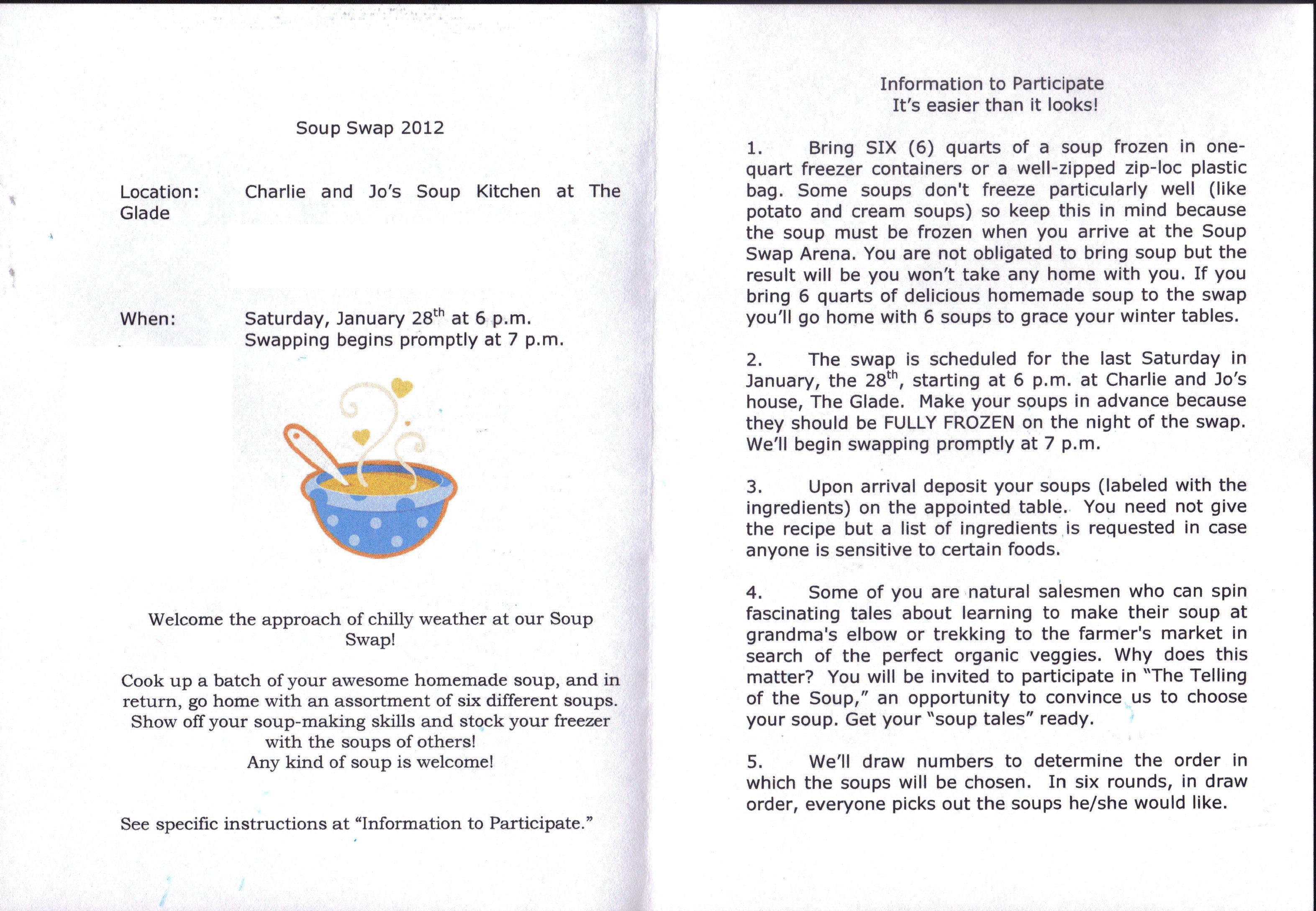 Soup Swap Invitation – Let\'s Face the Music