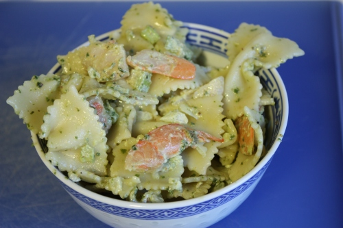 Shrimp pesto pasta salad - dig in!