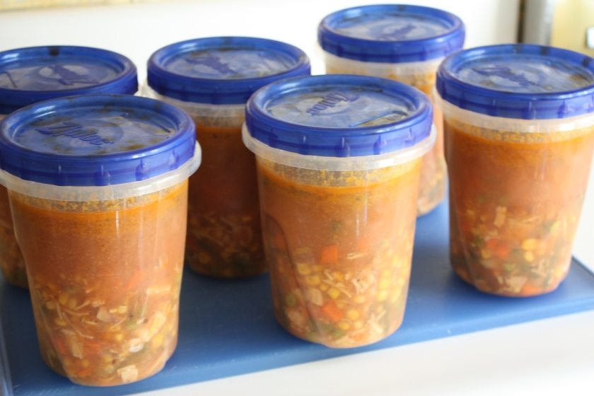 Containers filled with frozen soup ready for swapping - 2012.