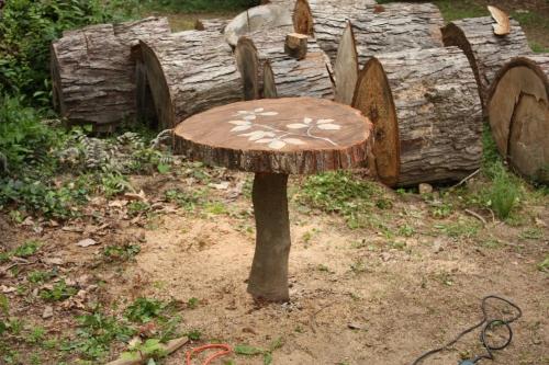 Oak slab table in the back yard.