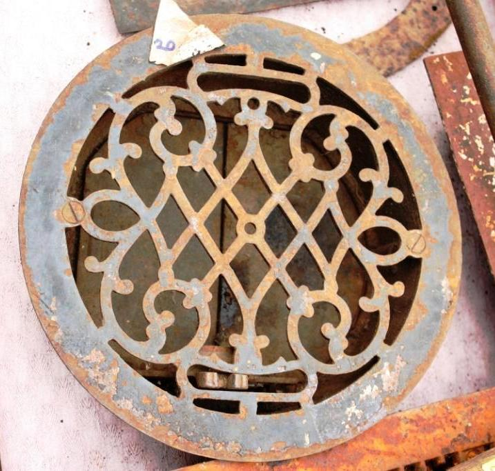 This round grate was about $20 at the flea market and about 12-inches in diameter.