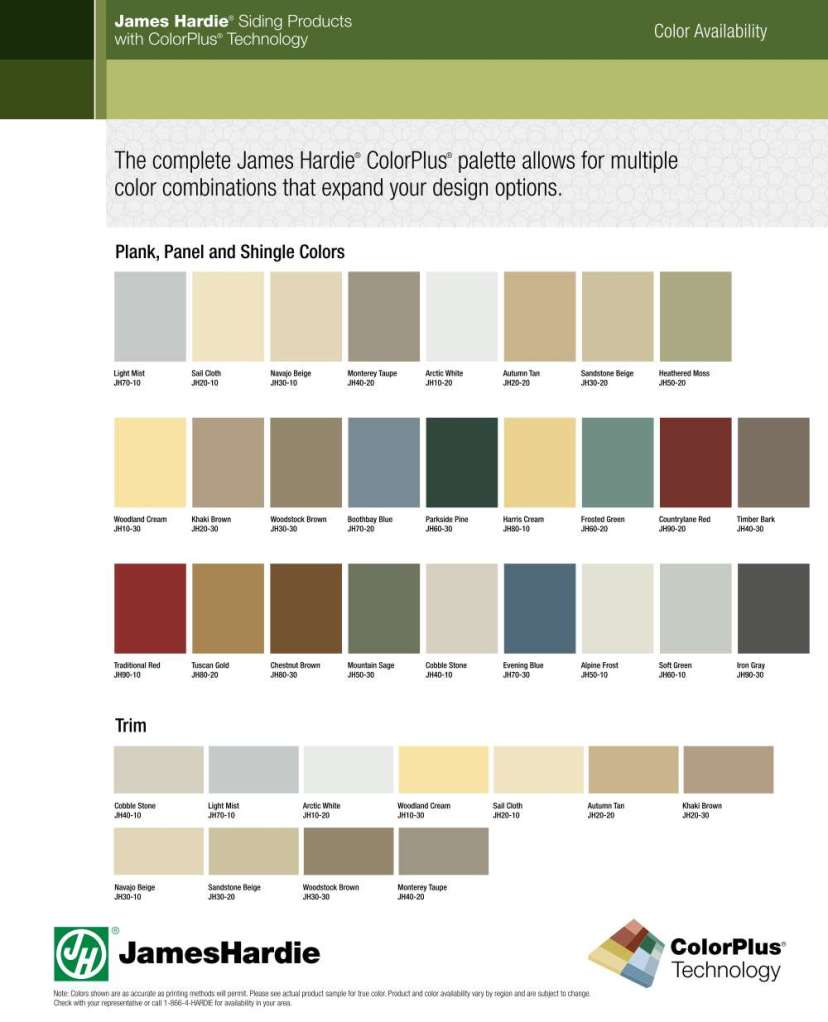 Hardie board color swatch chart.