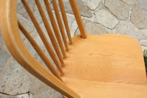 After sanding the chairs are wiped down with mineral spirits.