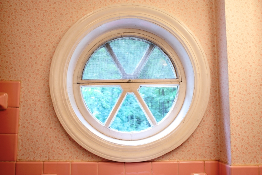 The original bird's eye window at The Glade is in the pink bathroom.