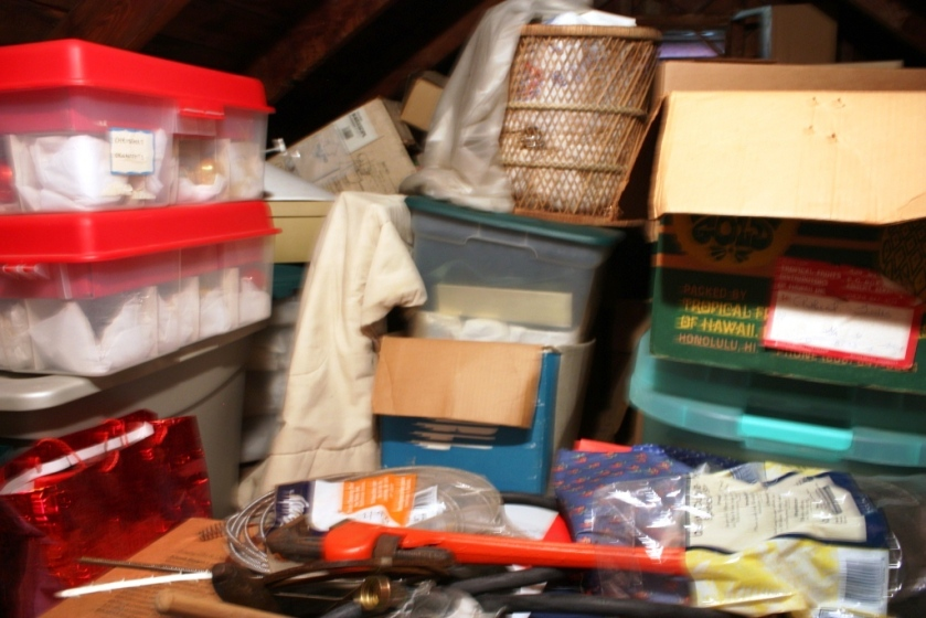 The Christmas bins stashed in the attic.