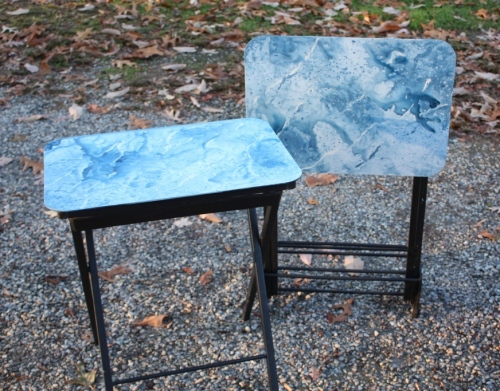Faux marbre painted TV tray tables.