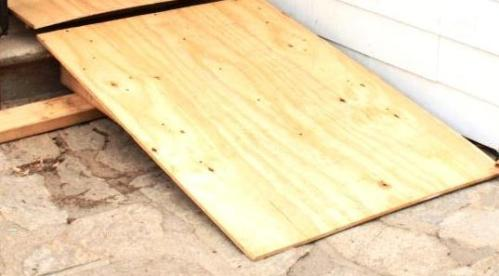 The ramp is a plywood sheet on tapered 2 by 6 stock.