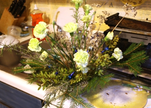 I added a fistful of pale green carnations.