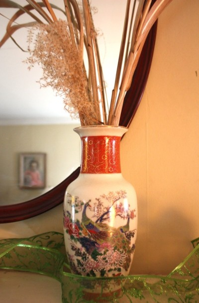 The peacock vase lends a feeling of the Orient from when the Wise Men came.