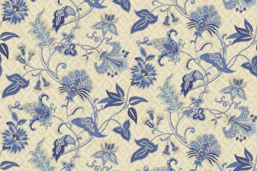 """Deauville Dance"" in the color Luna is a Jacobean print on an Ikat diamond background."