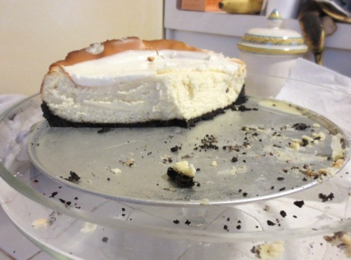 The crunchy Oreo crust against the creamy smooth cheesecake is a bite of heaven.