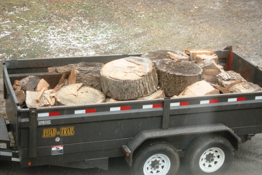 It had begun to snow by the time all the wood was loaded.