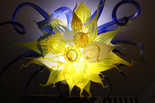 Blue and yellow blown glass chandelier originally made as a wedding decoration.