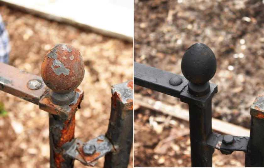 The rusty iron fence before and then derusted and sprayed with Rust Reformer.