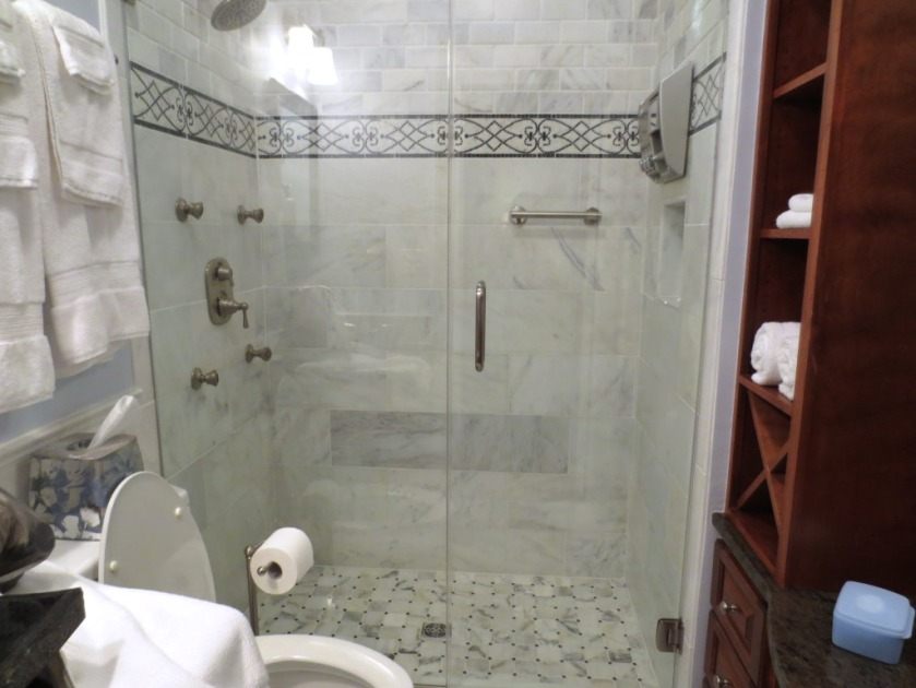 This glass shower at our suite in Charleston, SC, had the kind of glass finish we prefer.
