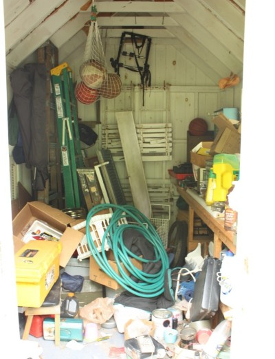 The shed gets cluttered easily.