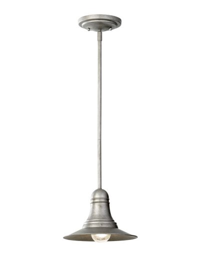 This Feiss pendant is described as having a milk can finish, $79.
