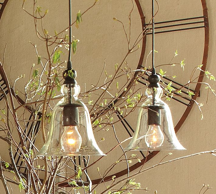 Pottery Barn pendants come in 2 sizes; we would choose the smaller ones.