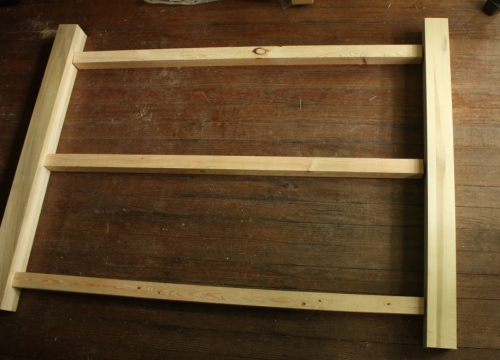 Two frames will be built with 3 by 3 poplar posts held together with 2 by 2 rails.