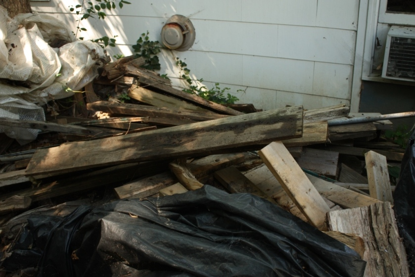 The salvage wood pile needs an overhaul.