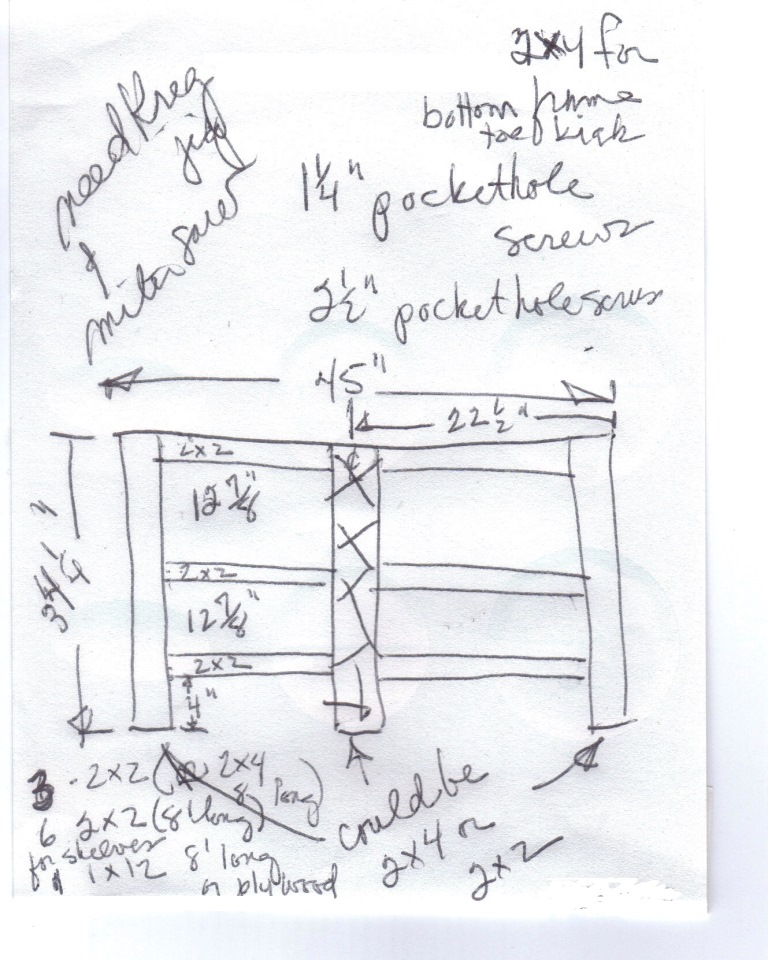 Rough sketch shows where we re going with the shelves on the back of