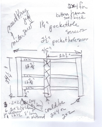 A rough sketch shows where we're going with the shelves on the back of the sideboard.  I'm considering doing away with the center stile (thus the Xs.