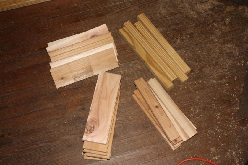 Cut to length cedar boards.