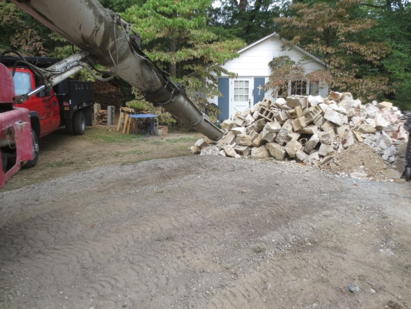 We had an enormous rubble pile in the driveway.