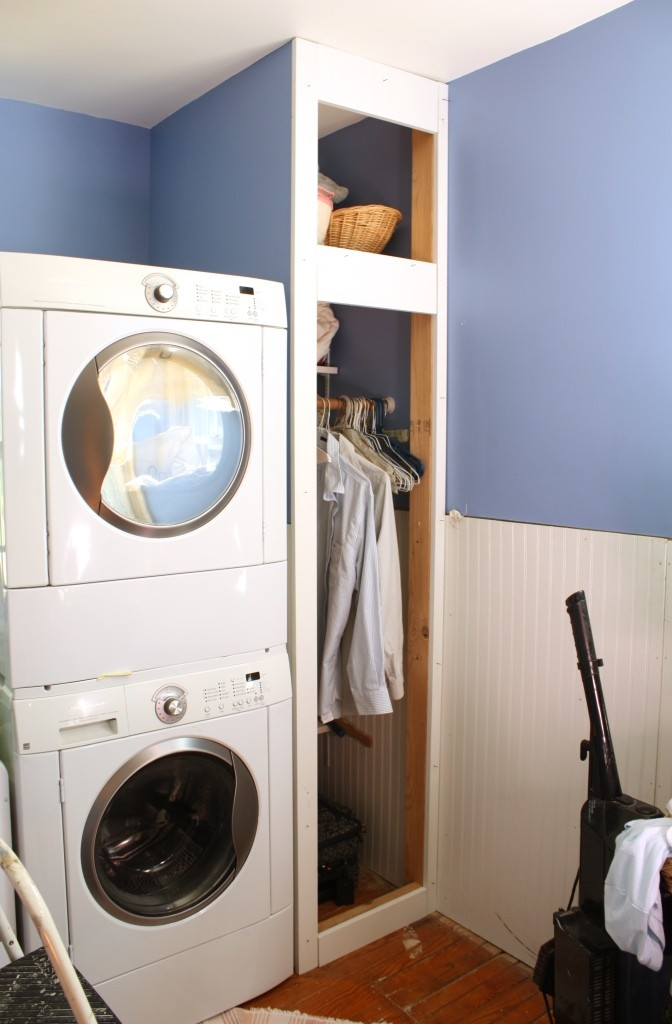 The dryer on top of the washer is vented outside and allows cold drafts to come in when the dryer door is open.