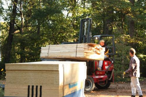 Lumber was piled in the driveway in the fall of 2013.