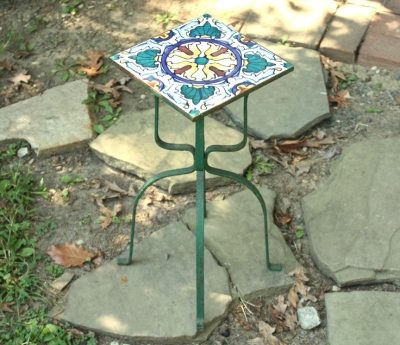 This tiny tile table will fit just about any place.