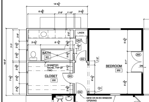 While the bathroom layout has changed, the door swings in the hall plan are basically the same.
