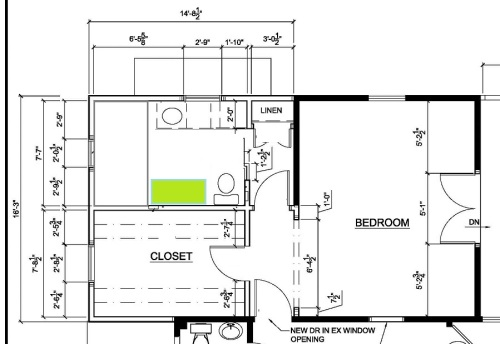 The shower in the master bathroom is in the upper left hand corner of this plan.