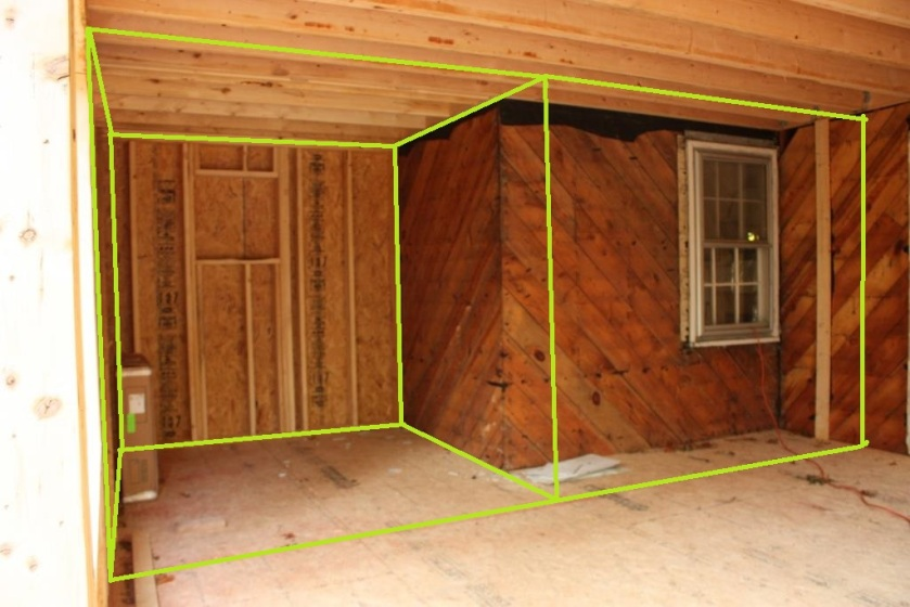 The green lines mark the interior wall plans.