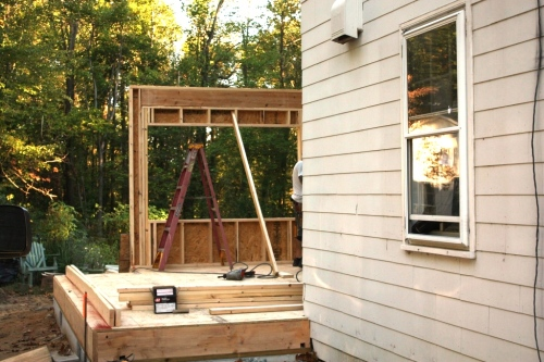 The first part of the kitchen wall framing was the bump-out.