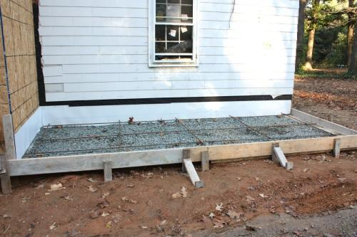 The side porch prepped to pour the concrete.