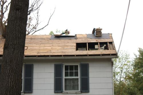 The roofers cut our the rotten wood and replaced it with plywood.