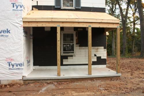 The building process of the side porch.