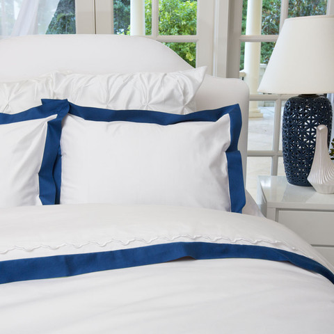 I won a gift certificate with which I purchased 2 Crane and Canopy Euro pillow shams banded in Monaco blue.