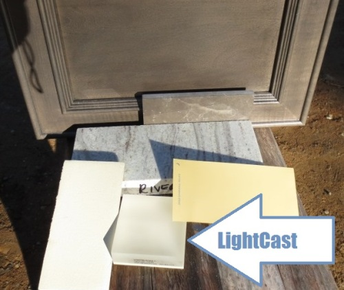 LightCast Vanilla goes with our kitchen wall color, the cabinet finish, and the other countertops.