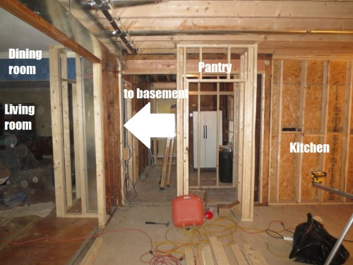 The new framing allows us to enter the kitchen from the living room or the side hall.